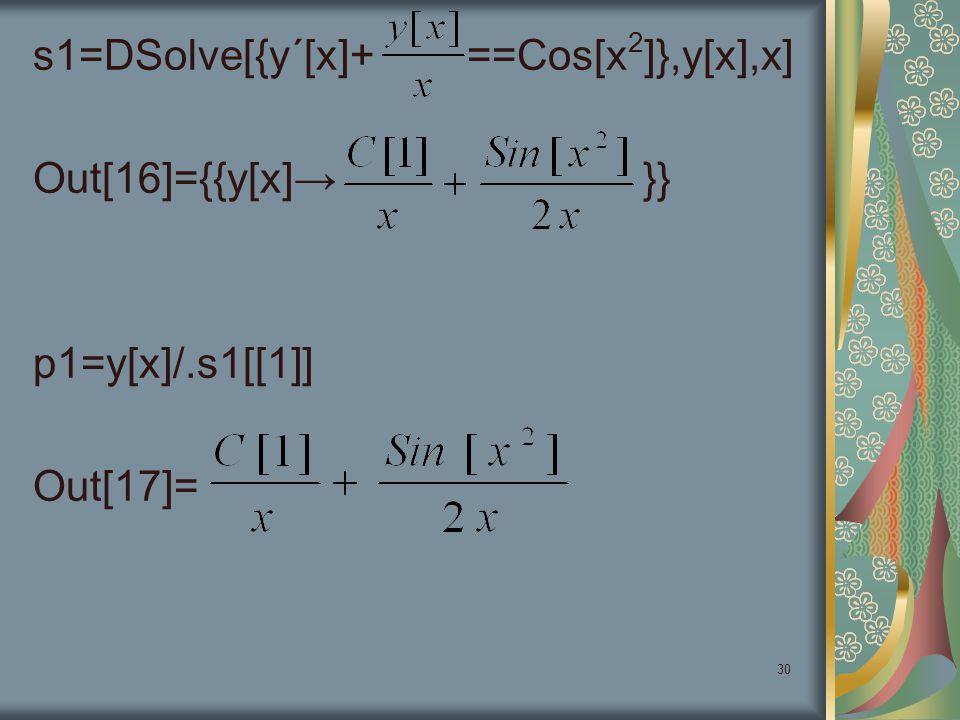 s1=DSolve[{y΄[x]+ ==Cos[x2]},y[x],x] Out[16]={{y[x]→ }} p1=y[x]/